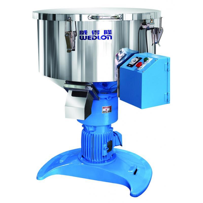 直立式攪拌機,主要是應用於攪拌橡、塑膠新、次料及色粉、色母。攪拌桶內備八支葉片產生渦流全方位高速混合。